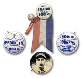 1940's-50's Brooklyn Dodgers Pin Collection (4)