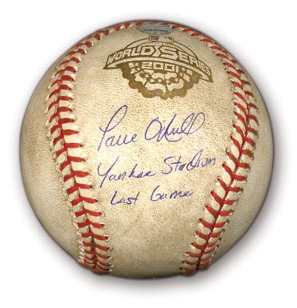 2001 Paul O'Neill Last Yankee Stadium Game Used Baseball