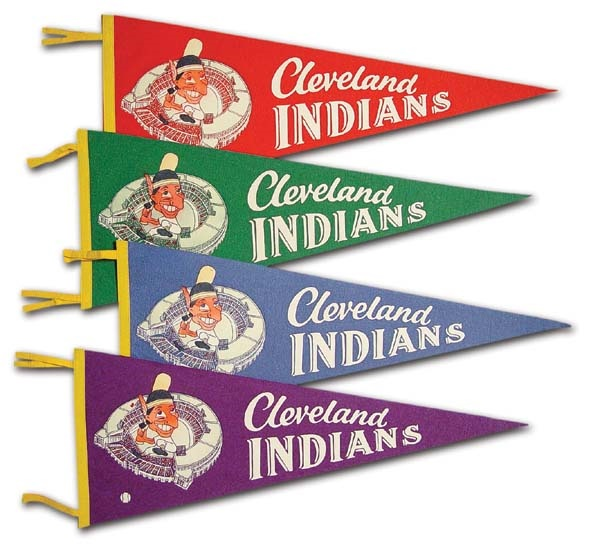1950s Set of Cleveland Indians Pennants (4)