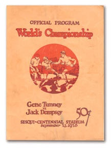 1926 Tunney vs. Dempsey Fight Program.