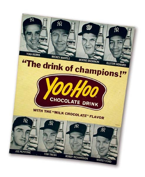 "1964 New York Yankees Yoo-Hoo Cardboard Advertising Sign (11x14"")"