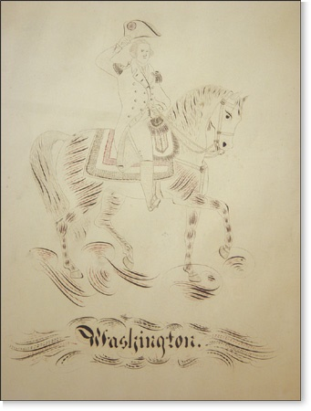 "Early 1800's Pen & Ink of George Washington on Horseback (20x24"")"