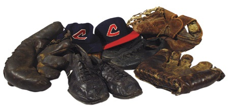Cleveland Indians Game Worn Spikes, Gloves, & Caps Collection (10)