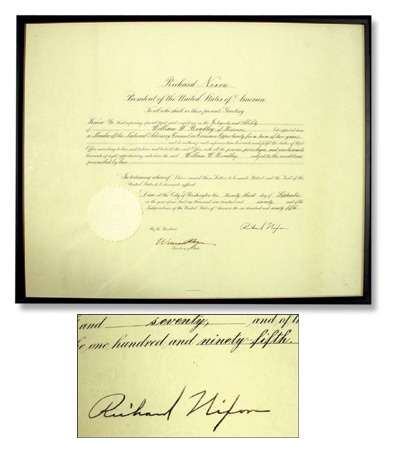 Bill Bradley Presidential Diploma Signed by Richard Nixon