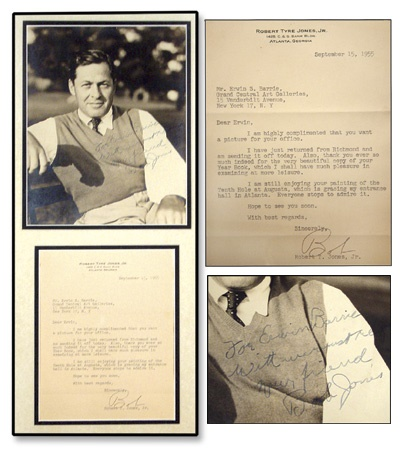 Robert Tyre Jones Signed Photo and Letter