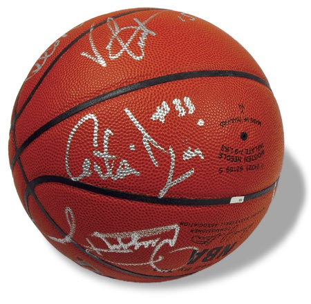 Circa 1997 Toronto Raptors Autographed Basketball with Carter & McGrady