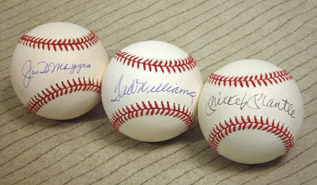 Mickey Mantle, Joe DiMaggio, and Ted Williams Single Singed Set of Balls (12)