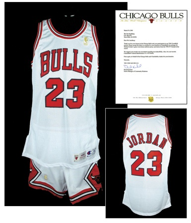 1996-97 Michael Jordan Chicago Bulls Game Worn Uniform with Bulls Letter
