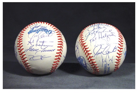 1993 Toronto Blue Jays World Series Team Signed Baseballs (2)