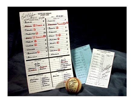 Bert Blyleven 200th Win Lineup Cards & 201st Win Signed Baseball