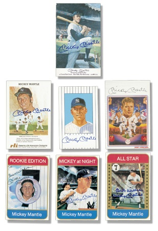 Mickey Mantle Signed Promotional Card Collection (80)