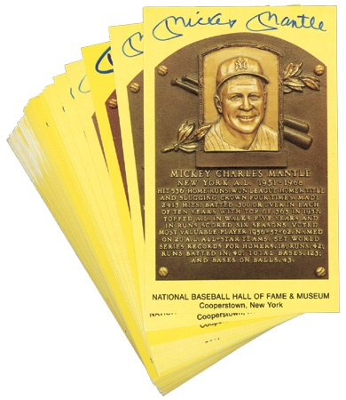 Mickey Mantle Signed Yellow Hall of Fame Plaque Postcards (27)