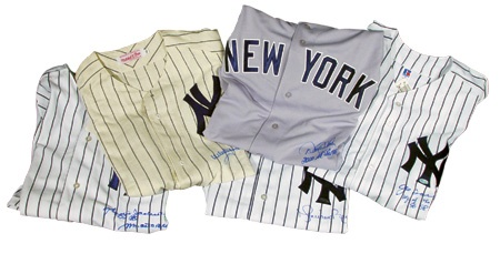 Autographed New York Yankees Game Jerseys Collection (5)