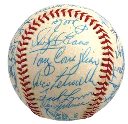 1975 Boston Red Sox Team Signed Baseball with Tony Conigliaro