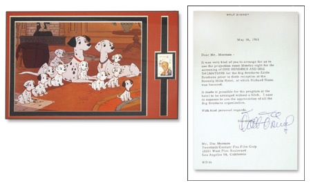 Walt Disney Signed Letter and Animation Cel