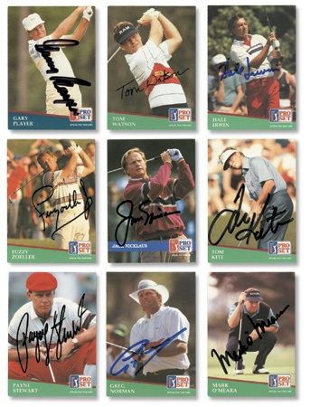 Lot of 1500+ Autographed Golf Cards
