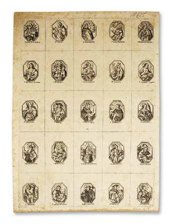 Uncut Sheet of Holy Cards Dating from the 1600's