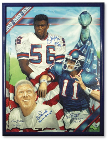 "Lawrence Taylor, Phil Simms, & Bill Parcells Signed Print (29x38"")"