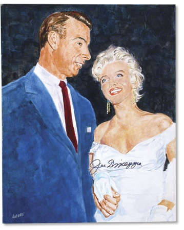 "Autographed Joe DiMaggio & Marilyn Monroe Original Artwork (16x20"")"