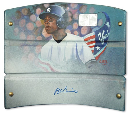 2001 Alfonso Soriano Autographed Artwork on New York Yankees Plastic Seat Backing
