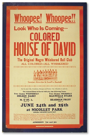 "1930's Colored House of David Broadside (22x32"")"