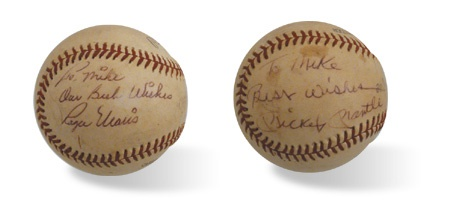 "Vintage Mickey Mantle & Roger Maris Signed Baseball ""To Mike"""