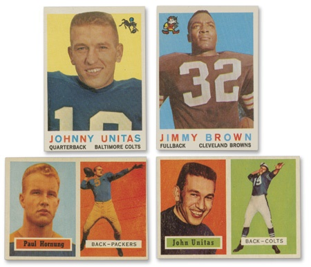 1957 (no Starr) and 1959 Topps Football Sets