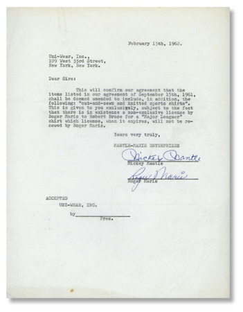 1962 Mickey Mantle and Roger Maris Signed Agreement