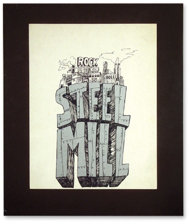 "Steel Mill ""Rock & Roll Factory"" Silkscreen Poster.  (14x11"")"