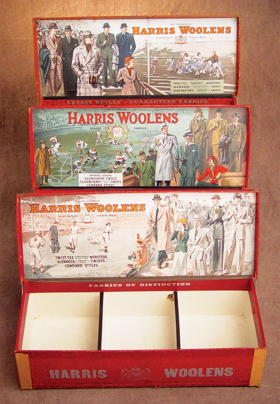 1920's Harris Woolens Baseball, Football and Hockey Display Boxes (3)