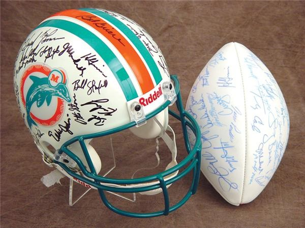 1972 Miami Dolphins Signed Reunion Helmet and Football