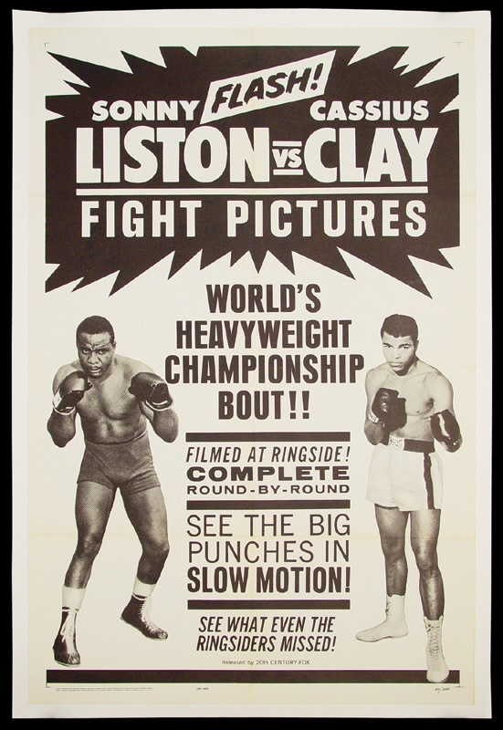 "Cassius Clay vs. Sonny Liston Fight Film Poster (27""x41"")"