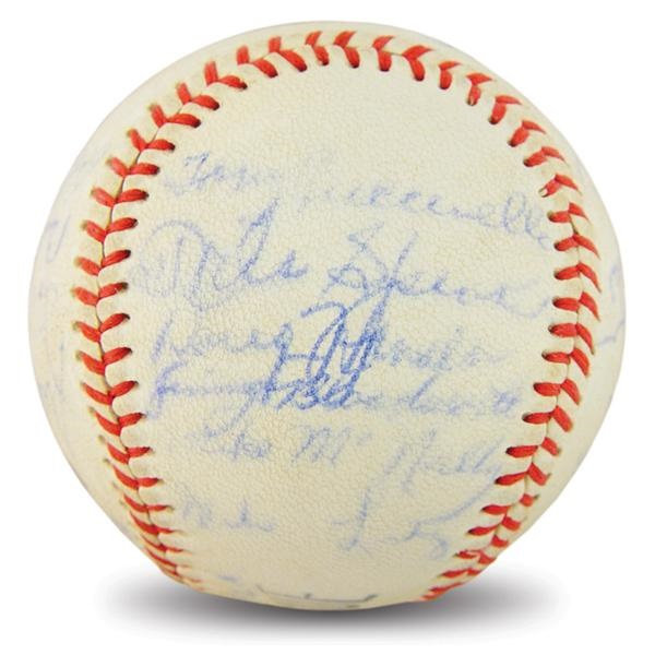 1953 Cleveland Indians Team Signed Baseball with Speaker