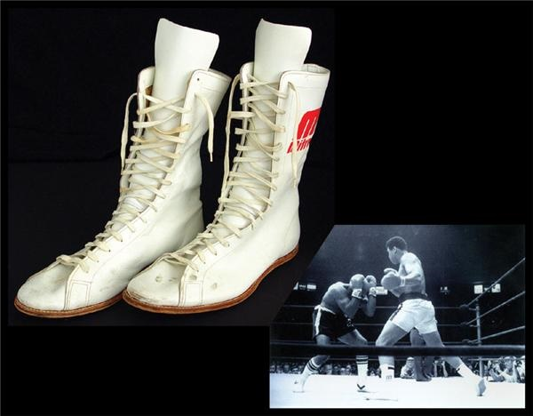 1977 Muhammad Ali Fight Worn Shoes from Shavers Fight