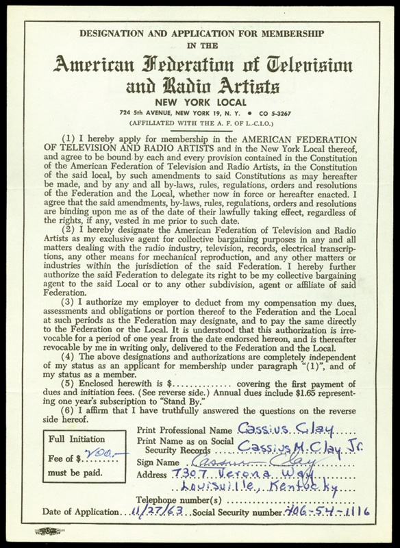 Cassius Clay Signed A.F.T.R.A. Contract (6x8.5