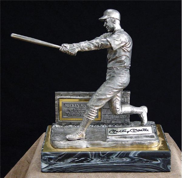Mickey Mantle Autographed Pewter Sculpture by Michael Ricker