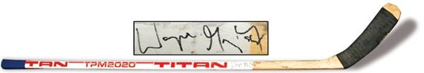 1987-88 Wayne Gretzky Game Used Autographed Titan Stick
