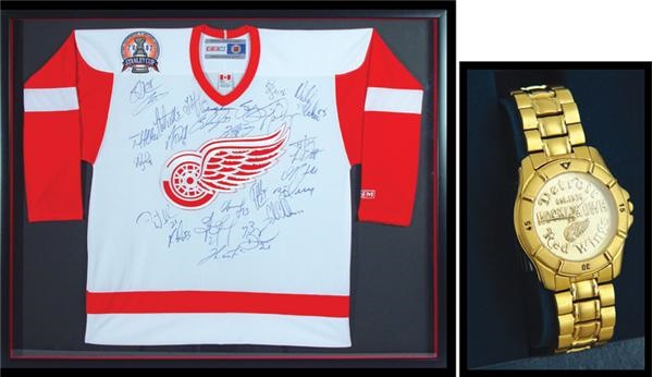 various colors df114 a6031 2002 Detroit Red Wings Stanley Cup Team Signed Jersey and ...