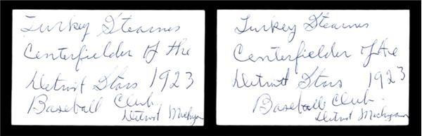 Turkey Stearnes Autographed Index Cards (2)