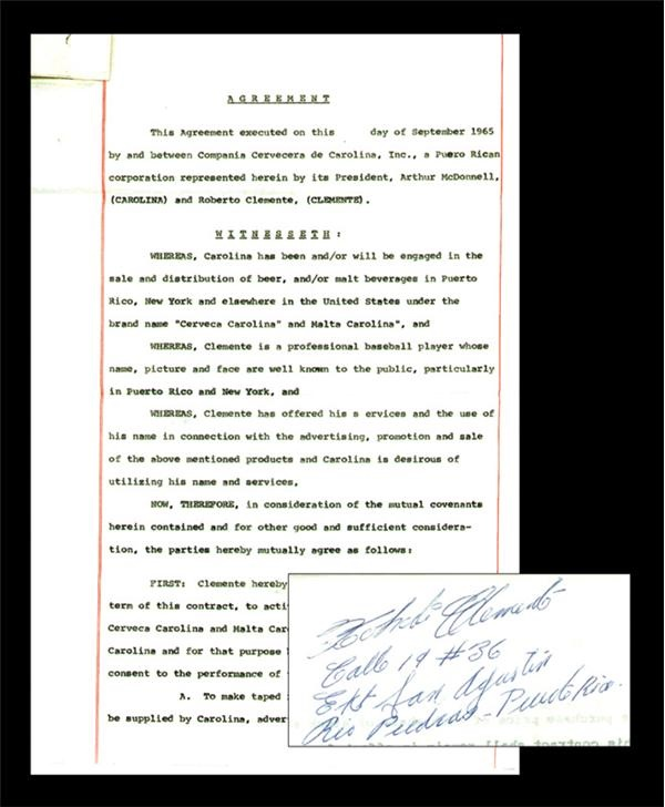 1965 Roberto Clemente Signed Carolina Beer Contract