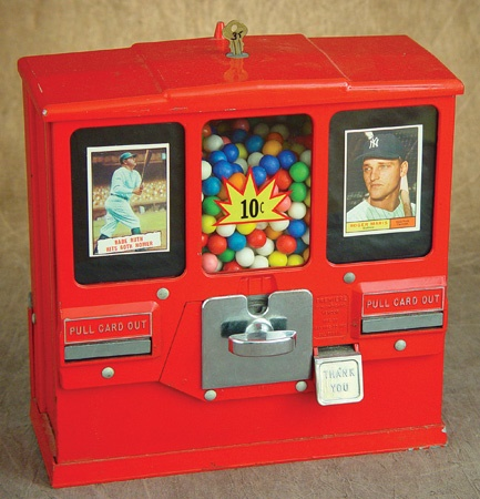 1960's Baseball Card Vending and Gumball Machine with Ruth & Maris Cards