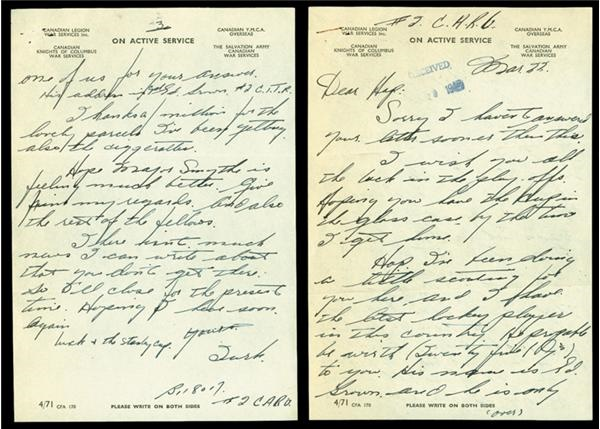 1945 Turk Broda War Letter to Hap Day with Extras