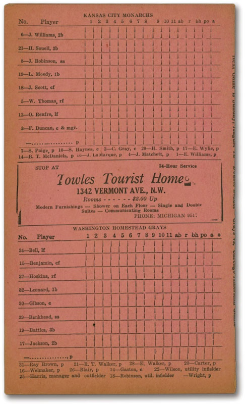 1945 Negro League Scorecard with Robinson, Gibson & Paige