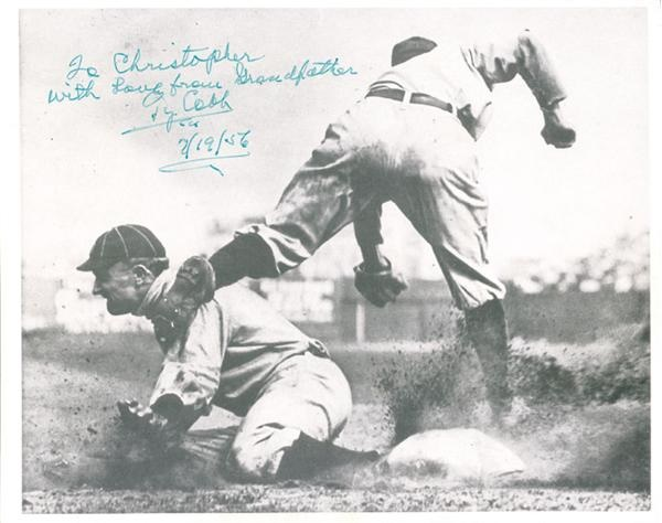 "Ty Cobb Sliding Into Third Signed Photo from the Christopher Cobb Collection (8x10"")"