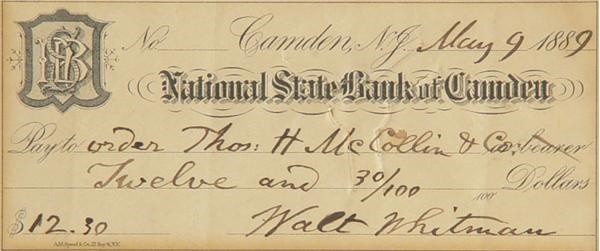 Walt Whitman Signed Check