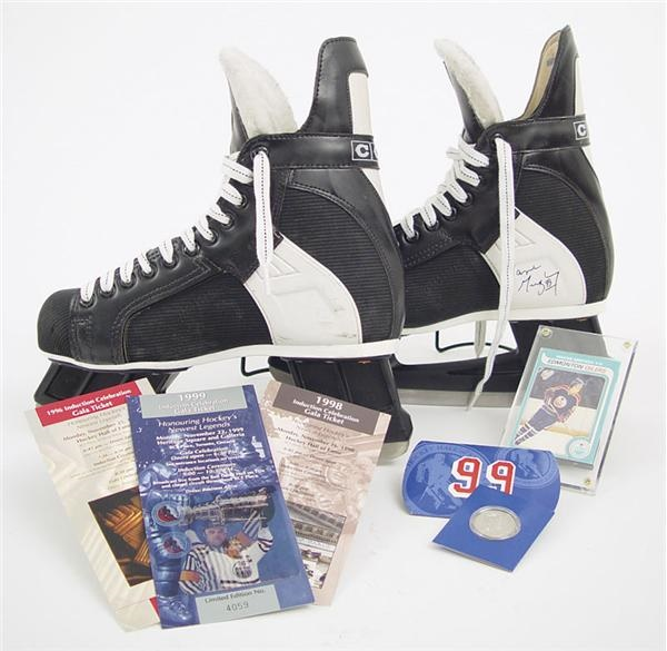 Wayne Gretzky Game Worn Skates, Rookie Card & Hall of Fame Induction Packet