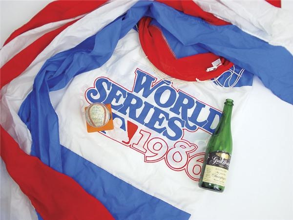 1986 New York Mets World Series Signed Baseball, Champagne Bottle and Wind Sock