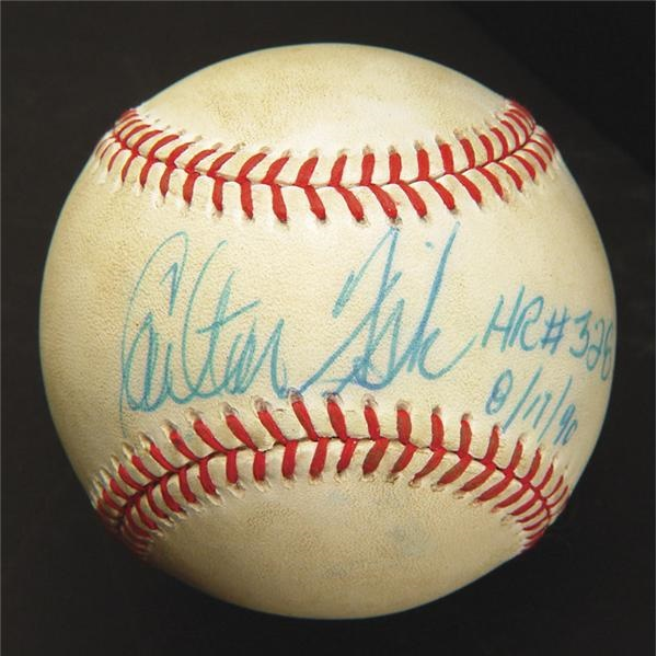 August 17, 1990 Carlton Fisk Home Run Record-Breaking Game Used Baseball