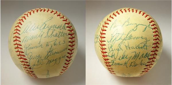 1954 New York Yankees Old Timers Signed Baseball