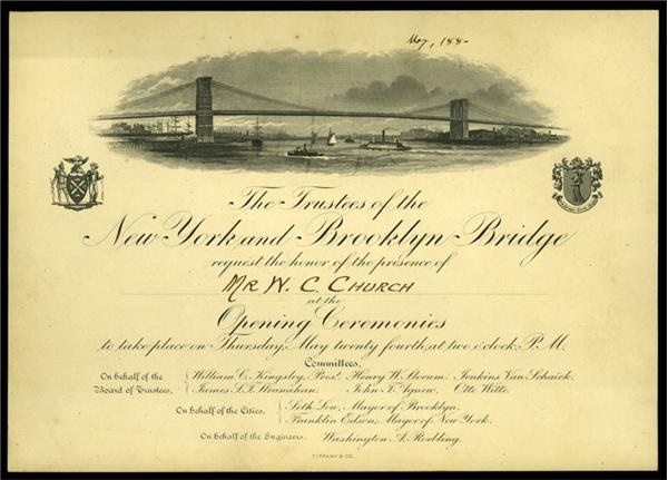 "1883 Brooklyn Bridge Opening Ceremonies Invitation (6.5""x9"")"